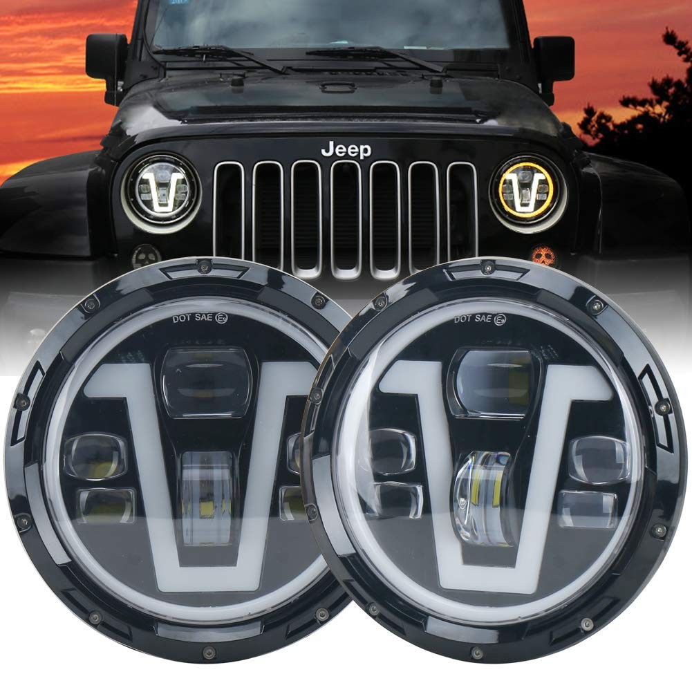 OVOTOR Jeep Headlights LED 7 inch with Halo Ring Amber Turn Signal Lights V Type White DRL Hi Lo Beam