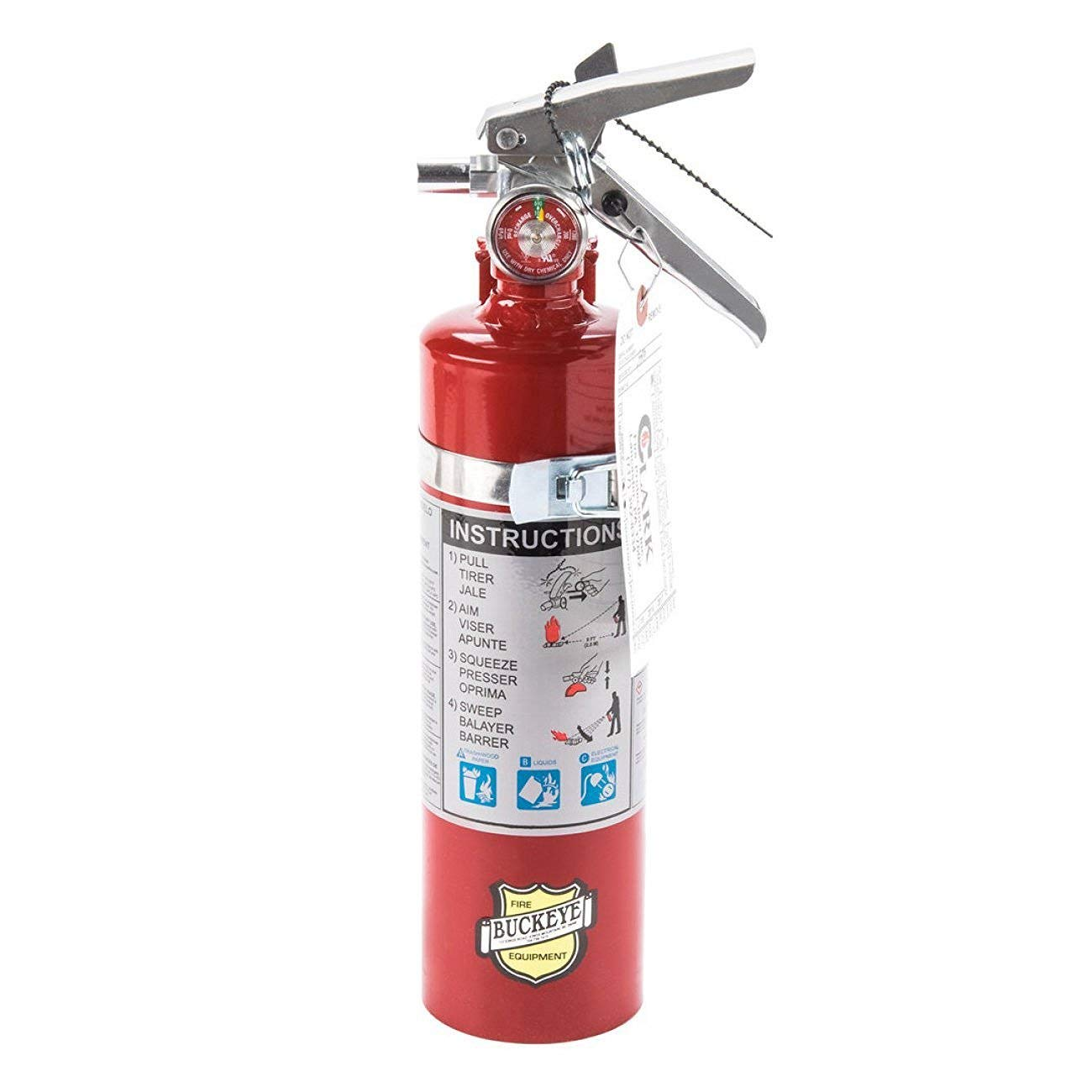 Fire Buckeye Equipment Type ABC Dry Chemical Fire Extinguishers, with 1 - Vehicle Brackets and 1 - Yellow Inspection Tag