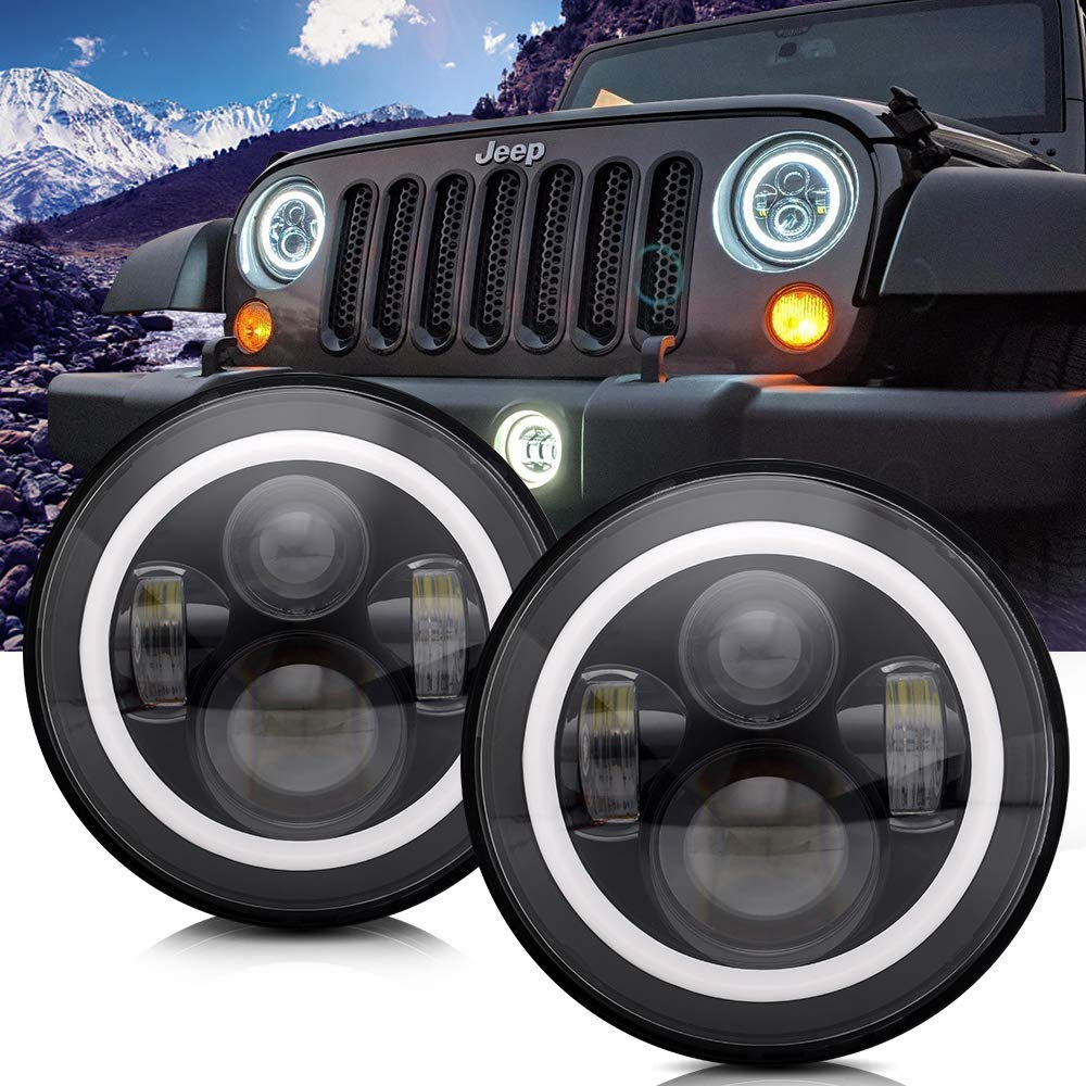 TURBOSII DOT Approved 7'' Round Black LED Headlight with High Low Beam White DRL Amber Turn Signal