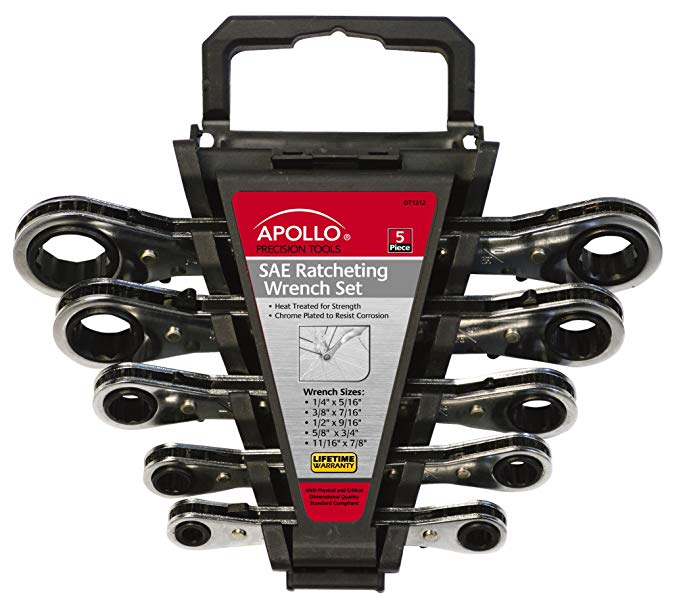 Apollo Tools DT1212 SAE Ratcheting Wrench Set, 5-Piece