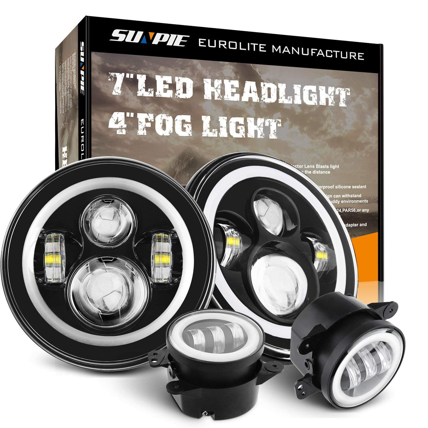 Sunpie 7 Inch LED Halo Headlights with Turn Signal Amber DRL White+ 4 '' Halo Fog Lights