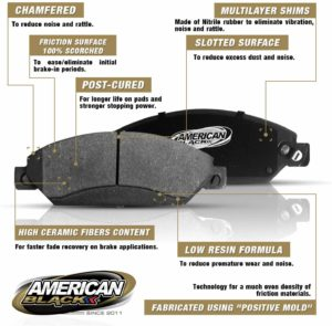 American Black ABD888M Professional Semi-Metallic Front Disc Brake Pad Set