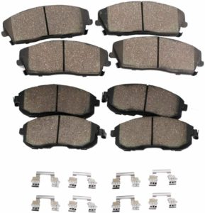 Detroit Axle Front and Rear Ceramic Brake Pads with Hardware