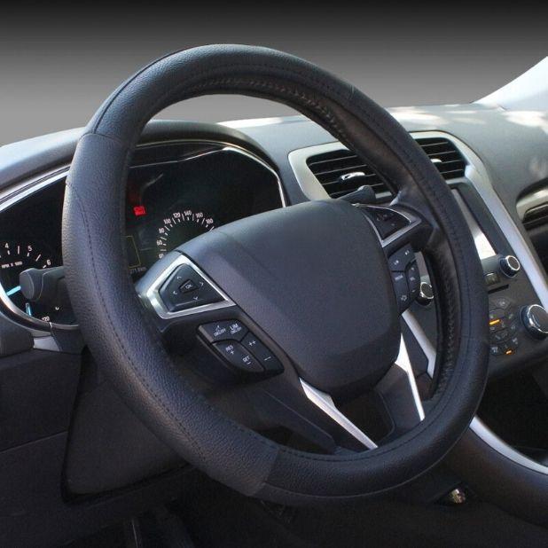 SEG Direct Black Microfiber Leather Auto Car Steering Wheel Cover