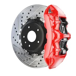 brake disc and red caliper
