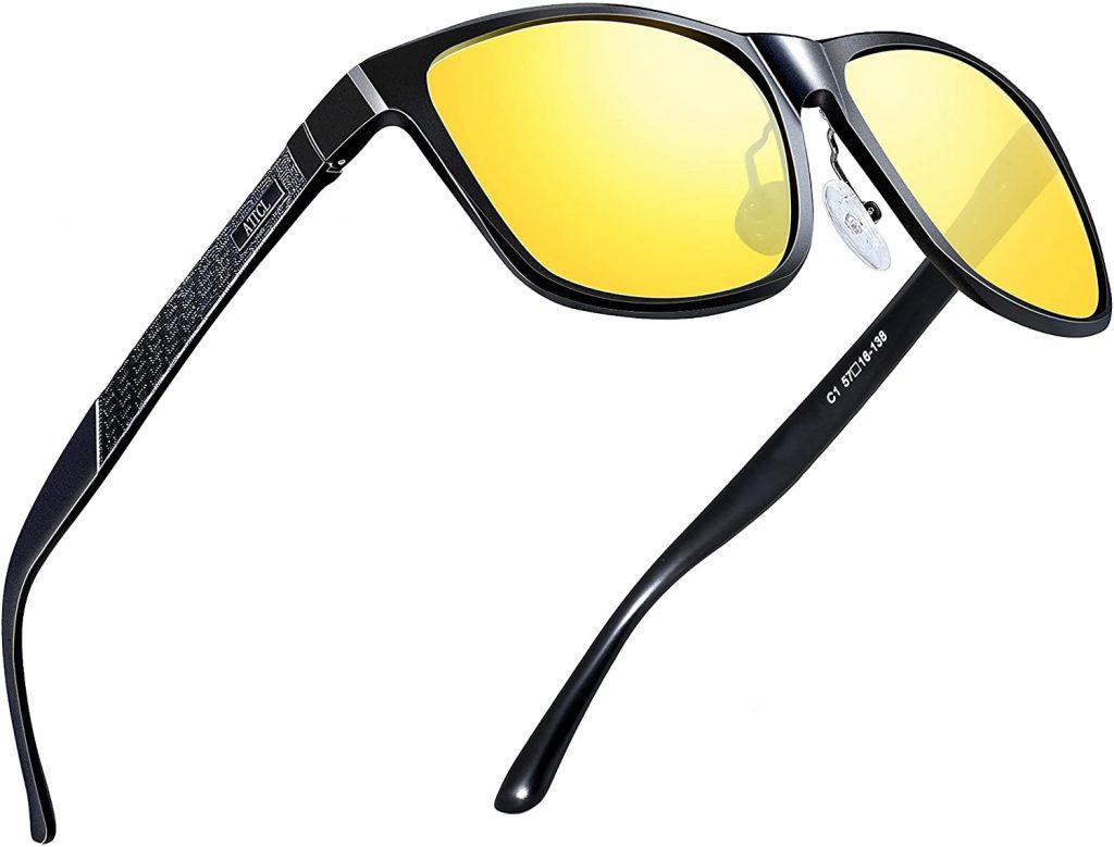 ATTCL Men's Retro Metal Frame Driving Polarized Sunglasses