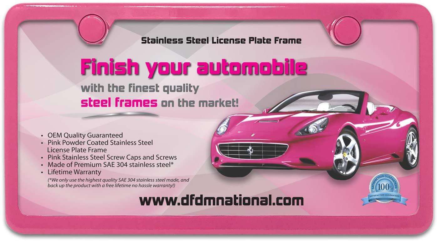 DFDM National Powder Pink Steel License Plate Frame
