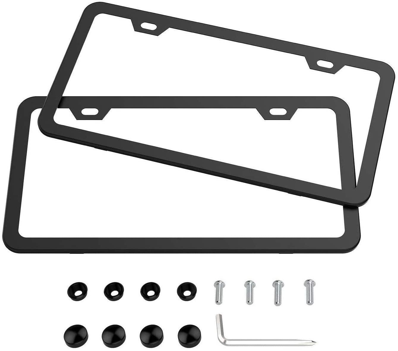 Karoad Slim Design Black Aluminum License Plate Frames