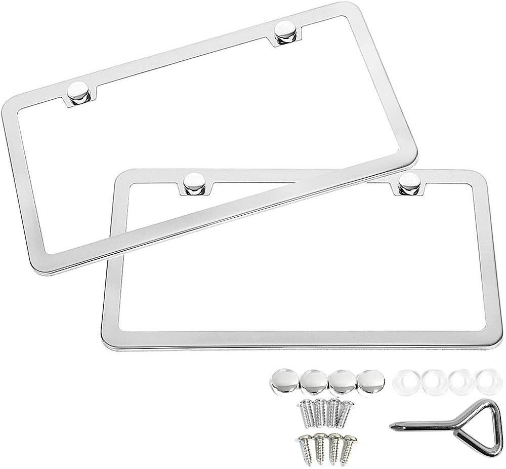 SunplusTrade Steel Polish Mirror License Plate Frame